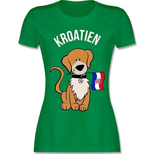 Fußball-Weltmeisterschaft 2018 - Fußball Kroatien Hund - XL - Grün - L191 - Damen T-Shirt Rundhals (Welpen-flag)