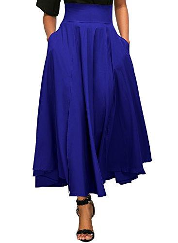 Dokotoo Jupe Femme Longue Haute Taille Casual Plissé Maxi Belted Jupe de Plage avec Deux Poches Bleu XL