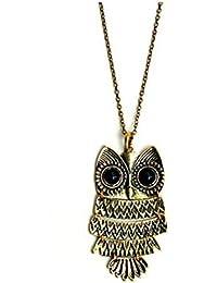 Modeschmuck beweglicher L Ketten Halskette Anhänger Eule Gold - Bronze w Antik Vintage Cute Owl Pendant necklace Perfect for Owl collectors!