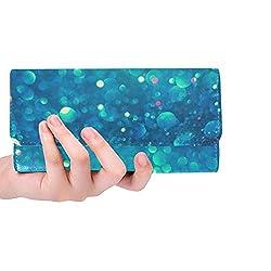 Einzigartige Weihnachtsblau-glühende Feiertags-Zusammenfassungs-Frauen Trifold-Mappen-Langer Geldbeutel-Kreditkarteninhaber-Fall-Handtasche