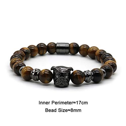 OPALQKN Mode Tier Schmuck Qualität Gold-Farbe Nette Bulldogge Armband Männer Tigerauge Stein Perlen Armband