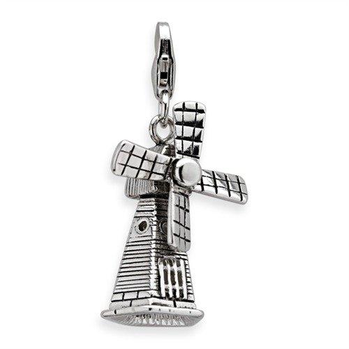 Unique Silber Charm Windmühle mit Karabiner für Basisarmbänder CH0521