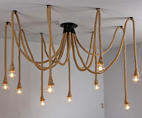 Plafoniere Stile Industriale : Lampadario ragno corda di canapa stile industriale retrò soggiorno