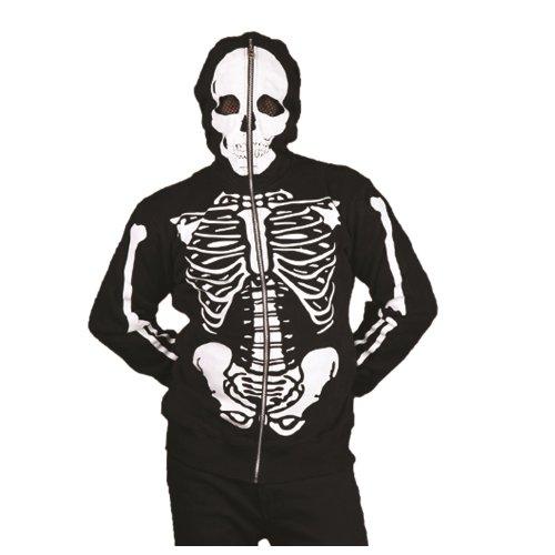 Herren Skelett Kapuzenjacke mit Maske - Skeleton Hoodie (Reißverschluss Hoodie Mit Skelett)