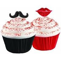 Wilton 7,6cm 12pièces Fun Pix Moustache et lèvres kit