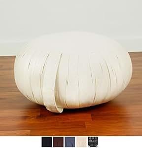 Leewadee Coussin pour méditation Zafu, 40x20 cm, Kapok, Blanc