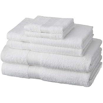 Amazon Brand - Solimo 100% Cotton 6 Piece Towel Set, 500 GSM (White)