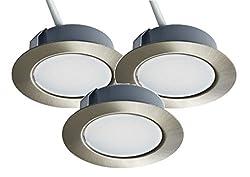 Trango 3er Set 12Volt AC/DC LED Möbel Einbaustrahler, Einbauleuchte, Deckenleuchte TGG4E-032 Nickel matt zum Ersetzen herkömmlichen G4 Möbelleuchten Küchenhaube-Leuchten usw.