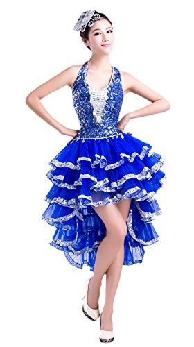 Honeystore 2017 Neuheiten Damen Ärmellos Jazz Latein Dance Kleid mit Pailletten Blau XXXL (Jazz Dance Kostüme 2017)