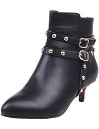 Cingant Woman Damen Stiefelette/High Heels/Halbhohe Stiefel/Damenschuhe mit Plateausohle/Ankle Boots/Schwarz, EU 38