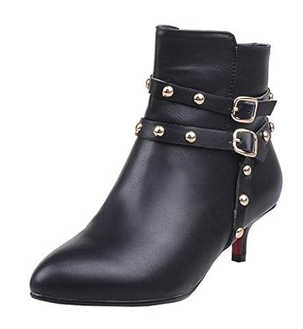 YE Damen Kitten Heel Spitze Stiletto Stiefeletten mit Nieten und Reißverschluss Schnallen 5cm Absatz Ankle Boots