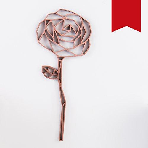 KLEINLAUT 3D-Origamis aus Holz - Wähle Ein Motiv & Farbe - Rose - 39,2 x 100 cm (XXL) - Rot