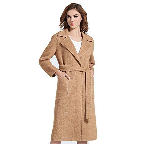 Frauen Doppelseitige Wolle Cashmere Mantel Jacke Revers Hals Belted Winter Warme Trenchcoat Mantel Outwear Parka Knielangen Duster Coat,Camel-L Belted Parka