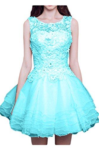 Victory bridal romantique en dentelle hundkragen aermellos abendkleider cocktailkleider partykleider court Turquoise