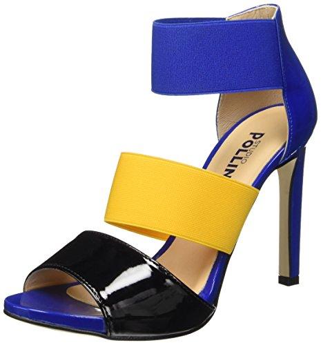 Pollini Sa16229c11tn, Chaussures à Talons à Bout Ouvert Femme Multicolore (Nero/Ocra)