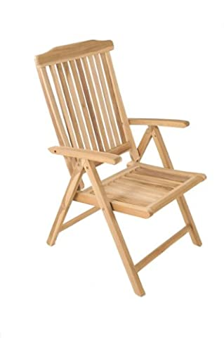 SAM® high-backed garden chair, teak garden furniture, folding recliner chair with 5 positions, teak furniture with sanded surface, solid wood furniture for garden, patio or