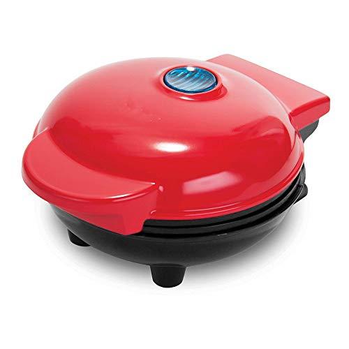 Home Electric Mini Waffle Maker, die Maschine für individuelle Pfannkuchen, Kekse, Eier & andere zum Mitnehmen Frühstück, Mittagessen oder Snacks - Rot