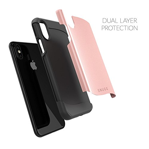 Coque iPhone X, Snugg Apple iPhone X Double Couche Case Housse Silicone [Bouclier Légère] Etui de Protection - Gris, Infinity Series ROSEGOLD