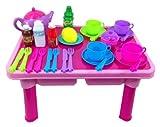 Tavolo e servizio da tè giocattolo per bambini con 29 pezzi