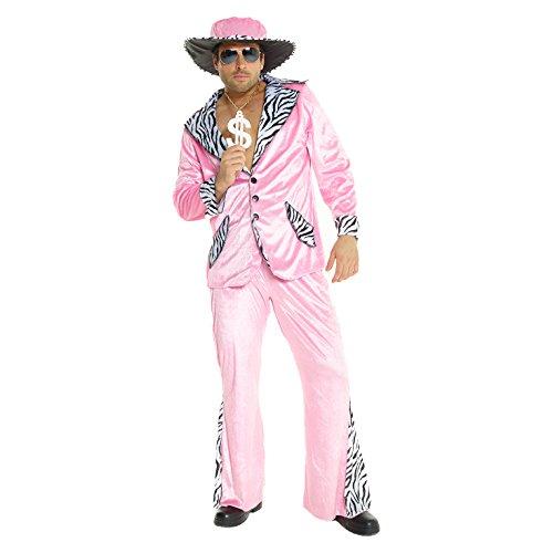 Unbekannt Herren Rosa Zuhälter Kostüm Samtanzug für Junggesellenabschied Partei Kostüm - X-Groß (46-48 Zoll / 117-122 cm ()