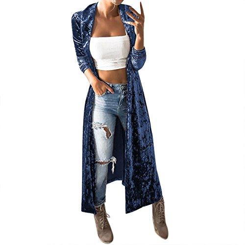 BHYDRY Manteau de survêtement pour Femmes Parka Cardigan Pulls Parka(X-Large,Bleu)