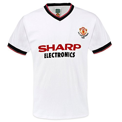 Manchester United FC Official Gift Mens 1983 FA Cup Retro Kit Shirt White Small
