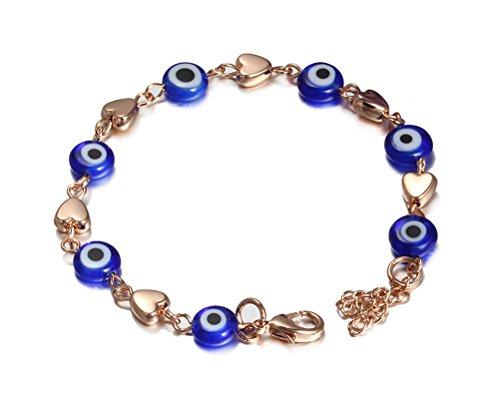 Per donna, motivo Evil Eye, in acrilico, blu-Bracciale da uomo, catena a forma di cuore in oro rosa, con catenina, (7 17,78 cm