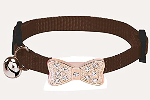 pupteck Breakaway Katzenhalsband personalisierten verstellbar Nylon sicheren Strass Schleife Kätzchen Halsbänder mit Glocke