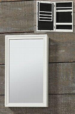 Armario-de-pared-con-espejo-Joyero-Marco-de-madera-blanco-y-cristal