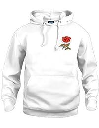 Retro England National Rugby Kapuze Bestickt Logo (Weiß)