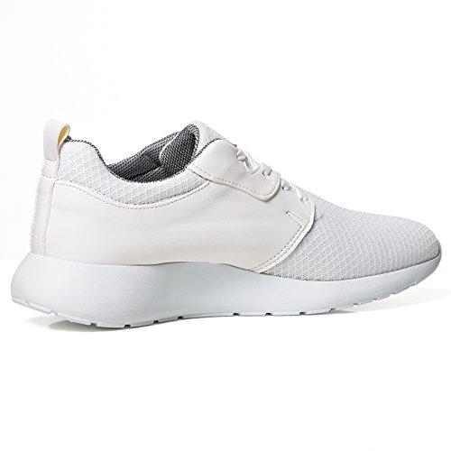 Herren Low Top Sneaker Schuhe Kunst Leder Zipper Sport Style 133 Weiß