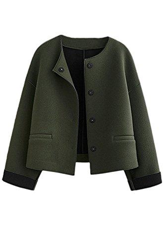 Les Femmes Rondes Pleines Hiver Occasionnel Cou Avant Ouvert Tweed Manteau Vêtements green