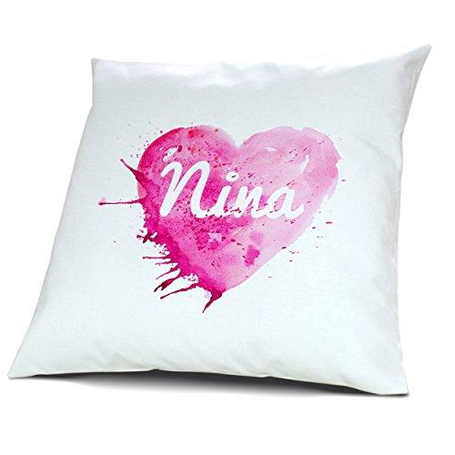 Kopfkissen mit Namen Nina - Motiv Painted Heart, 40 cm, 100% Baumwolle, Kuschelkissen, Liebeskissen, Namenskissen, Geschenkidee 6