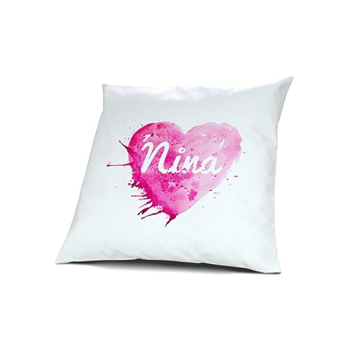 Kopfkissen mit Namen Nina - Motiv Painted Heart, 40 cm, 100% Baumwolle, Kuschelkissen, Liebeskissen, Namenskissen…