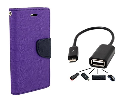 Sony Xperia T2 Ultra Flip Cover By Online Street (ORCHID PURPLE + OTG CABLE)  available at amazon for Rs.219