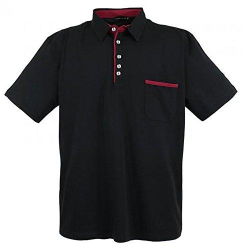 Übergrössen !!! WOW !!! Hippes Polo-Shirt Kurzarm LAVECCHIA 3 Farben LV-1701 Schwarz
