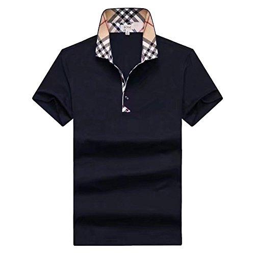 ECTIC Uomo Men's classic style Business Polo shirt Poloshirts Size M-XXXL B2149 Blue