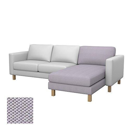 Soferia - Bezug fur Ikea KARLSTAD Anbau Recamiere, Nordic Light Grey