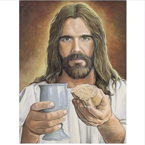 LIWEIZUAN 5D DIY Diamante Pintura Punto De Cruz Diamante Mosaico Figuras Verdaderos Hombres Religiosos Kit De Bordado De Diamante De Jesús 40x50cm