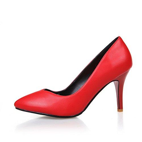 AllhqFashion Femme Pointu à Talon Haut Matière Souple Couleur Unie Tire Chaussures Légeres Rouge
