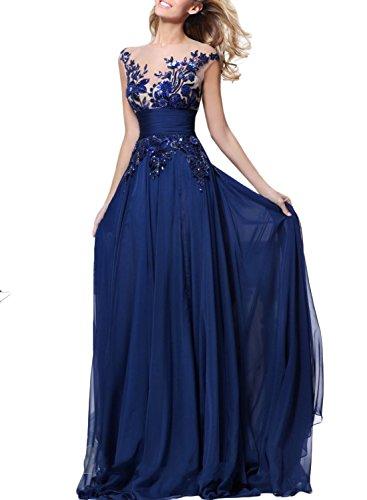 ASVOGUE Mujer Vestido de Noche Paneles de Encaje Floral Cintura Alta, Azul Profundo XL