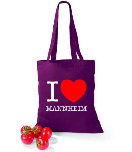 Artdiktat Baumwolltasche I love Mannheim Burgundy
