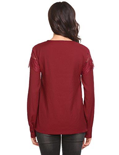 Meaneor Damen Elegant Bluse Langarmshirt Oberteile Tops T-Shirt V Ausschnitt mit Floralem Spitzen Am Ärmel Rot