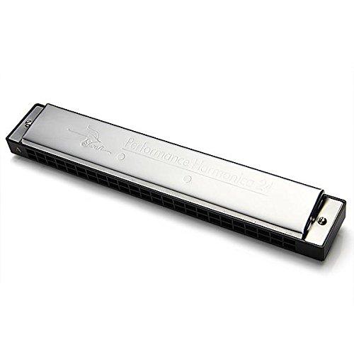 SWAN 24 Löcher Dual-Ton-Tremolo Mundharmonika Silber in A dur