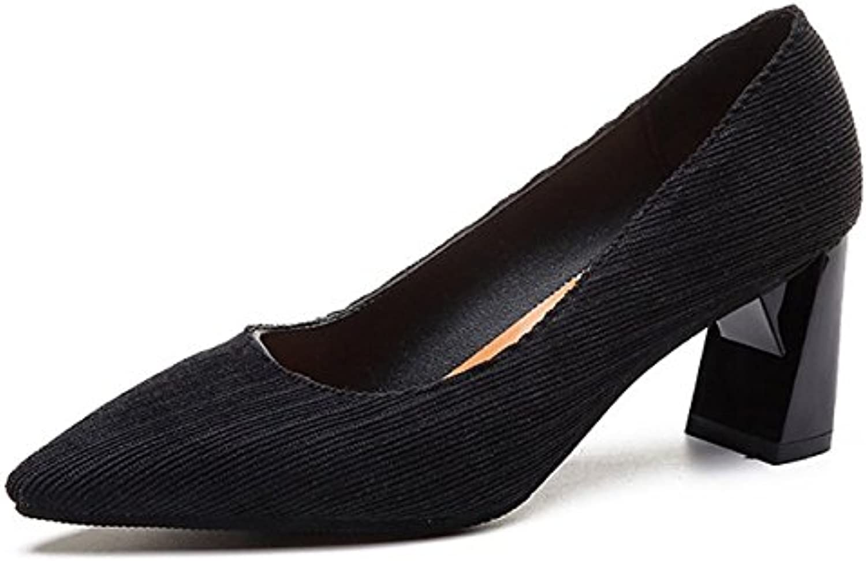 DIMAOL Damenschuhe Gummifeder Fallen Komfort Heels Low Heel Schuhe für Outdoor Grün Braun Schwarz