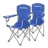 SONGMICS NO Campingstuhl, 2er-Set, klappbar, komfortabel, Klappstuhl mit robustem Gestell, bis 150 kg belastbar, mit Flaschenhalter, Outdoor Stuhl, blau GCB08BU, XL