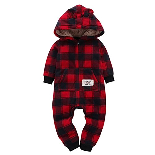 Ouneed bekleidungssets , Winter Infant Baby Boys Girls Thicker Grid Hooded Romper Jumpsuit Outfit Kids Clothes gift (18 Monat, Wein) (Grid Girl Outfit)