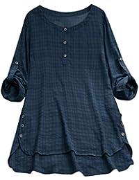 Slyar Camisetas Mujer Tallas Grandes Camisa A Rayas De Gran TamañO con Camisa De AlgodóN Y