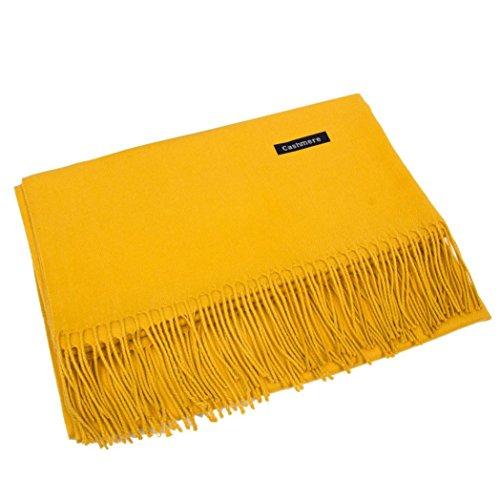 Schal, Frauen Winter Kaschmir Blend Solid Tassel Schal Wrap Schals (Gelb, Eins Größe)