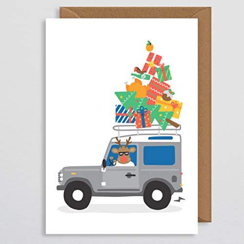 Weihnachtskarte für Papa - Weihnachtskarte für Autoliebhaber - Land Rover Defender - Auto Geschenk - britische Geschenk - lustige Weihnachtskarte - für ihn - Ehemann - Freund (Gmt Auto)